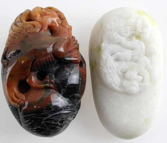 LOT OF TWO DRAGON CARVED STONES QUARTZ SOAPSTONE
