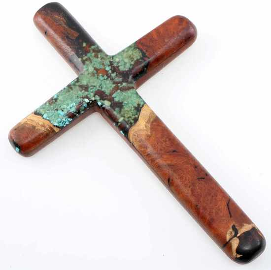 ROUNDED WOOD CROSS W INLAID TURQUOISE DETAILING