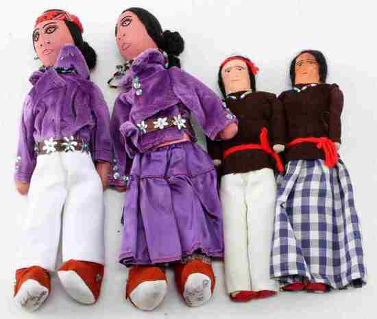 TWO PAIRS OF NATIVE AMERICAN HANDMADE DOLLS
