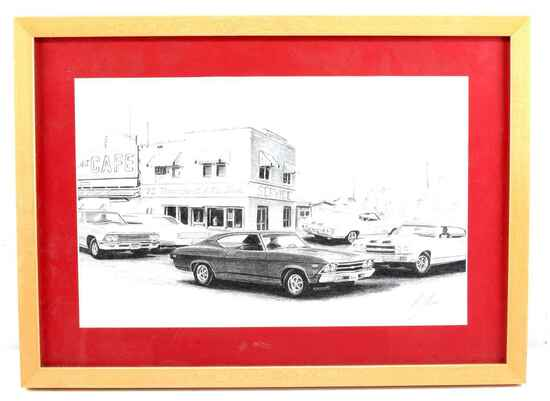 JAN JONES HAND SIGNED PRINT OF VINTAGE MUSCLE CARS