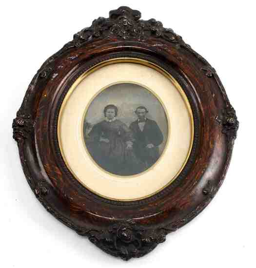FRAMED HAND COLORED TIN TYPE OF MAN & WOMAN