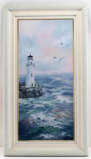 KYUNG A PARK SEASIDE COASTAL LIGHTHOUSE PAINTING