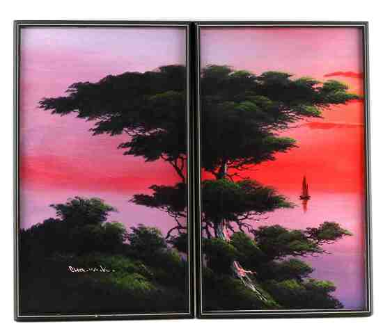 LONE CYPRESS OIL ON CANVAS SIGNED 2 PANEL PAINTING