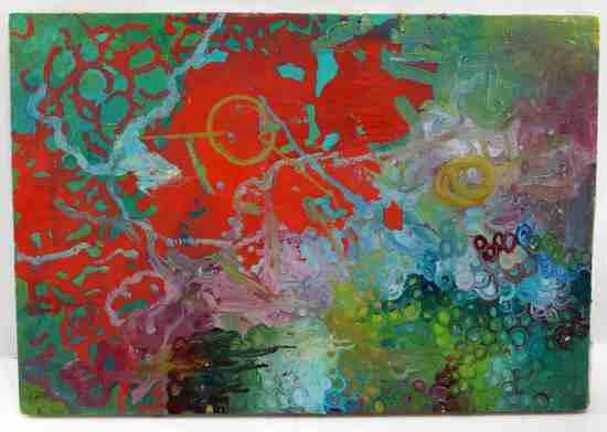 UNFRAMED OIL ON CANVAS COLORFUL ABSTRACT PAINTING