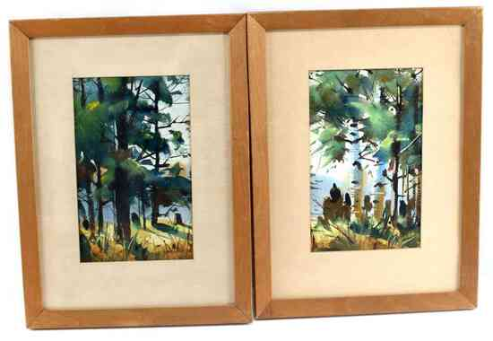 STEPHEN ZONITCH LANDSCAPE ART GOUACHE ON PAPER