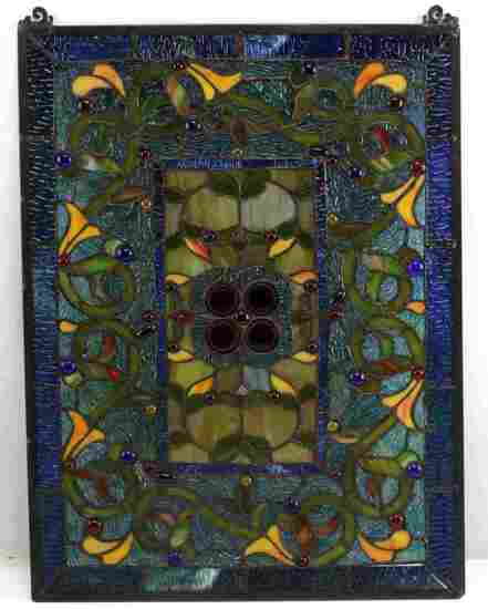 MULTI COLORED ART NOUVEAU STAINED GLASS  ART PIECE