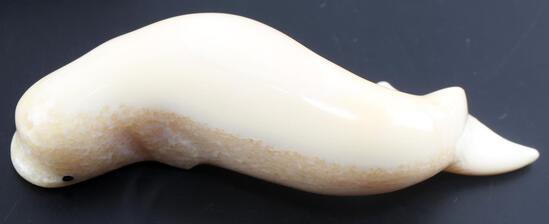 SMALL ALASKA WALRUS TUSK CARVED BELUGA WHALE