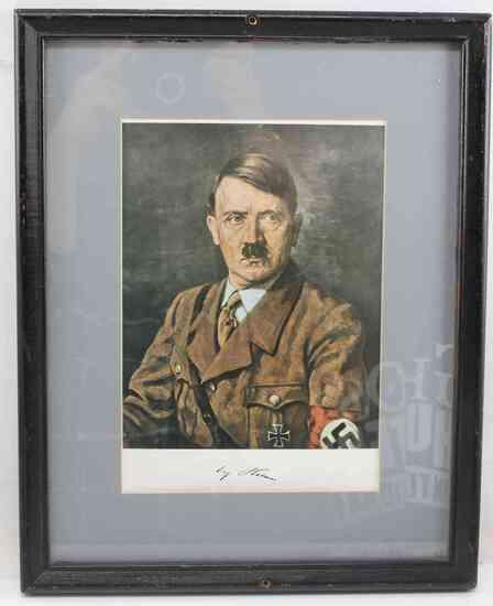 GERMAN WWII FRAMED DICTATOR ADOLF HITLER PRINT