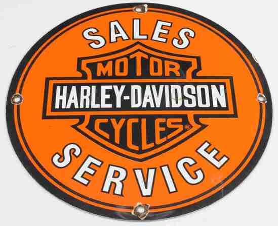 HARLEY DAVIDSON MOTOR CYCLE SALES PORCELAIN SIGN
