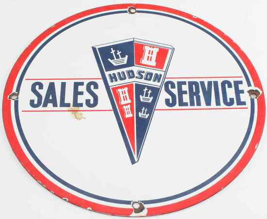 VINTAGE HUDSON SALES SERVICE PORCELAIN SIGN