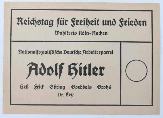 WWII GERMAN 1933 ADOLF HITLER VOTING BALLOT