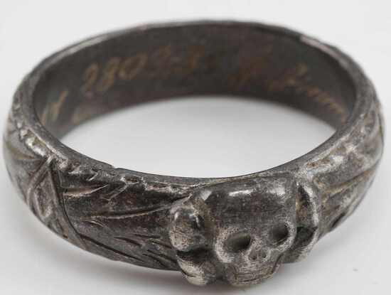 WWII GERMAN WAFFEN SS OFFICERS HONOR SKULL RING