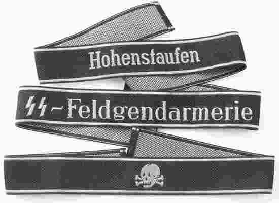 WWII GERMAN WAFFEN SS EM CUFF TITLES LOT OF THREE