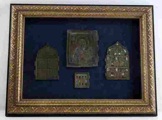 FRAMED BRONZE & ENAMEL ORTHODOX ICONS & PANELS