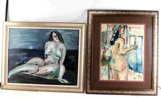 LOT OIL ON BOARD & GOUACHE PAINTINGS WOMEN MODELS