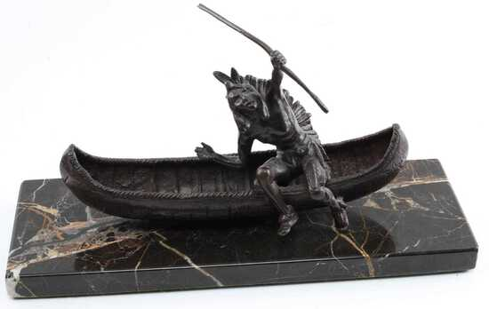 CARL KAUBA NATIVE AMERICAN CANOE BRONZE SCULPTURE