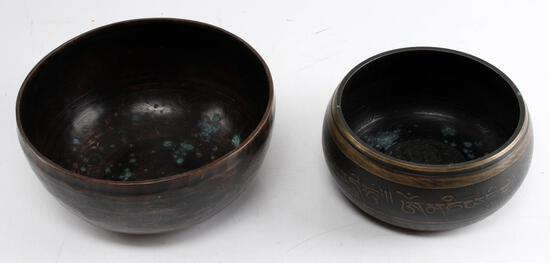 2 ANTIQUE COPPER HAND HAMMERED SINGING BOWLS