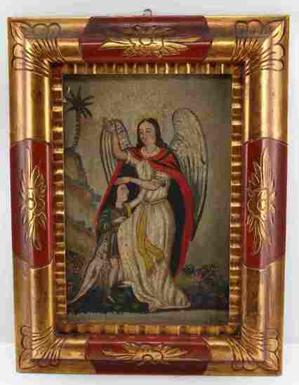 SPANISH COLONIAL FOLK ART  ARCHANGEL & CHILD