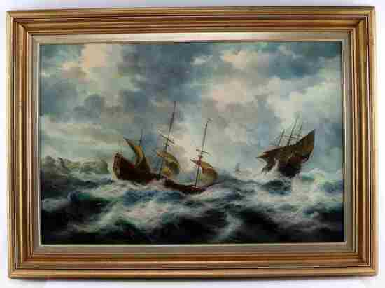 VINTAGE NAUTICAL MARITIME GALLEON SHIP PAINTING