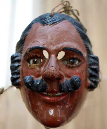 19TH C. CARVED GUATEMALAN WOODEN DANCE MASK