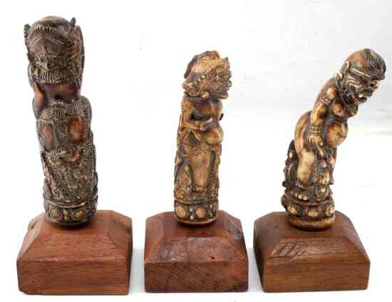 ANTIQUE HINDU BUDDHIST DEMON BONE CARVINGS LOT 3