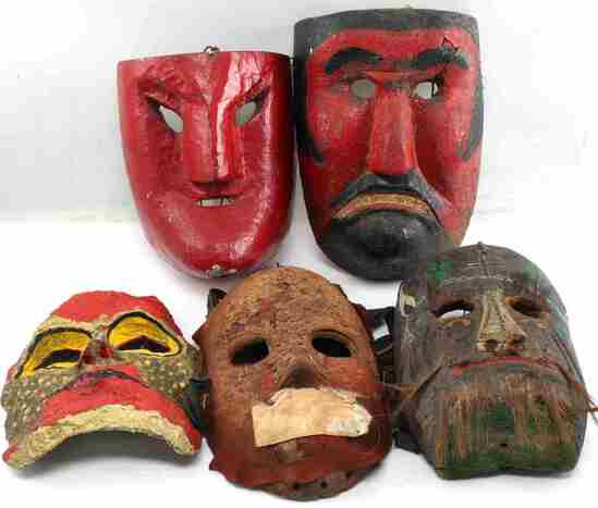LOT OF 5 LATIN AMERICAN WOODEN MASKS AND MORE