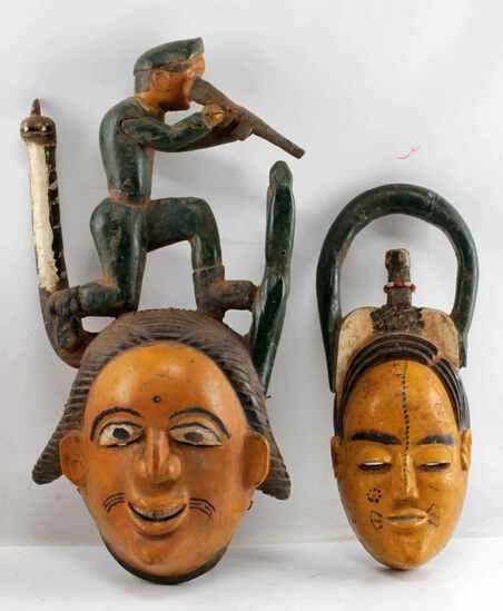 LOT OF TWO ANANG IBIBIO NIGERIA POLYCHROME MASKS