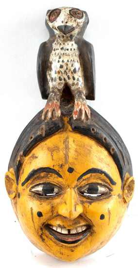 LOT OF TWO MASKS ANANG IBIBIO POLYCHROME PAINTED