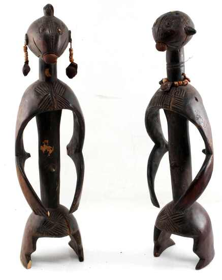 LOT OF TWO AFRICAN CARVED FEMALE & MALE FIGURES