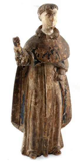 SPANISH COLONIAL STYLE CARVED SANTOS MONK FIGURE