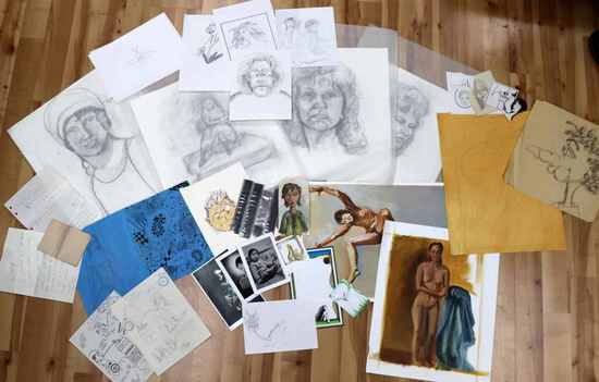 LARGE LOT OF PICTURES SKETCHES DRAWINGS & PRINTS