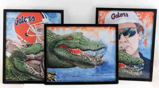 STEVE SPURRIER FLORIDA GATORS FOOTBALL PRINT LOT