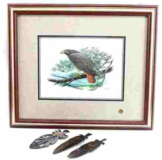 DON BALKE HAWK PRINT AND STEEL FEATHER ART LOT