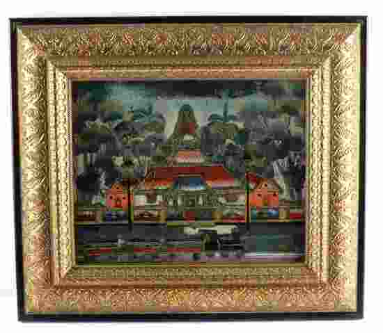 FRAMED MIXED MEDIA HINDU TEMPLE ARTWORK