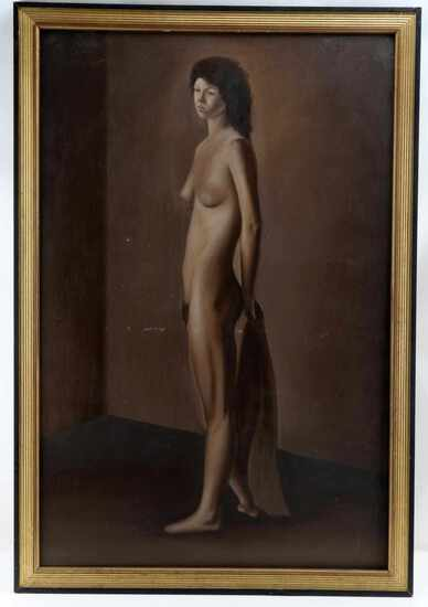 JUAN HERNANDEZ OIL ON CANVAS STANDING NUDE WOMAN