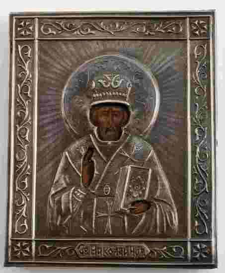 RUSSIAN IMPERIAL 84 SILVER ICON SAINT NIKOLAUS