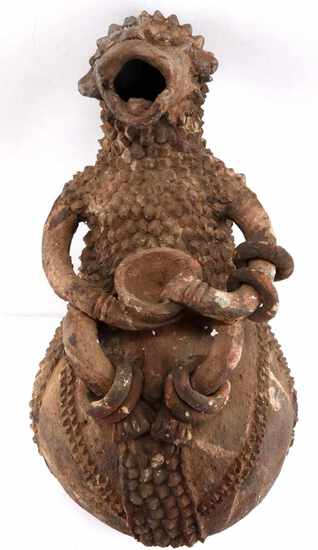 LARGE MAMBILA CLAY TERRA COTTA  ANCESTOR VESSEL