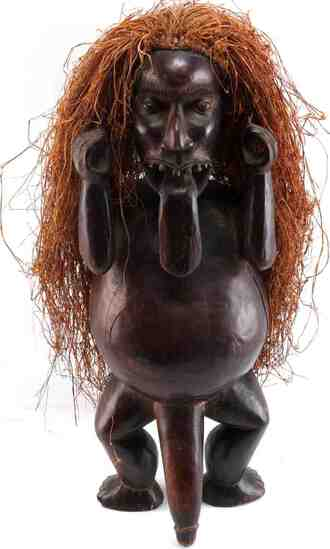 AFRICAN FERTILITY WOOD STATUE WITH RAFFIA PHALLIC