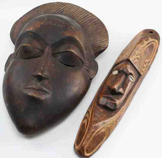 CHAMORI AND IVORY COAST CARVED WOOD TRIBAL MASK