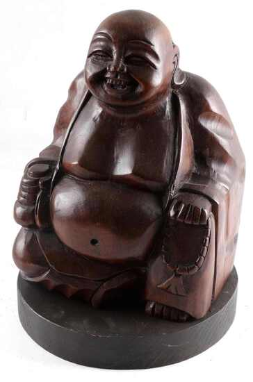 HAND CARVED WOODEN LAUGHING BUDDHA SCULPTURE