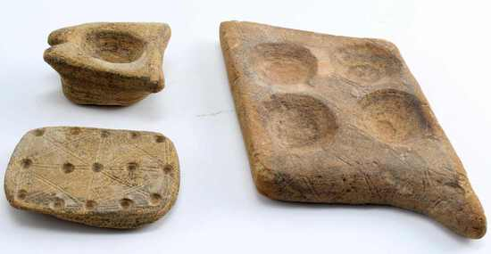 LOT OF THREE STONE CARVED PIECES GAME BOARDS