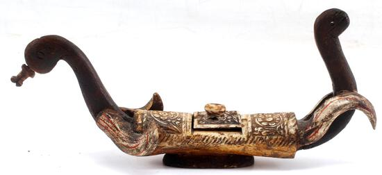 ANTIQUE SMALL BONE & WOOD INDONESIAN DUCK CARVING