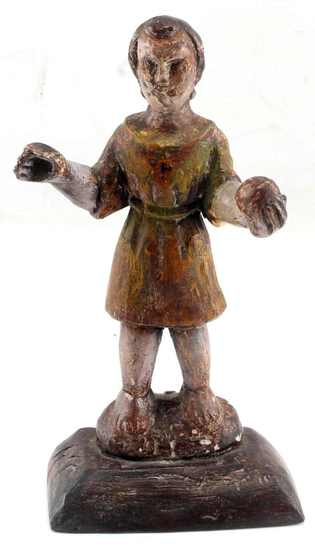 ANTIQUE SMALL WOOD CARVED & PAINTED SANTO FIGURE
