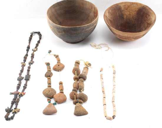 2 AFRICAN CARVED WOOD BOWLS & 4 NECKLACES