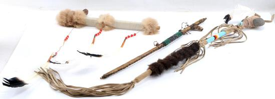 NATIVE AMERICAN INDIAN ANTLER PEACE PIPES & CLUB