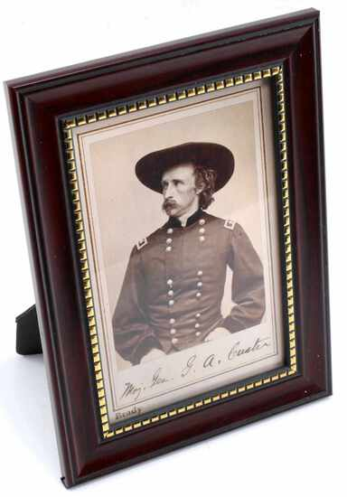 US ARMY GENERAL GEORGE A CUSTER FRAMED POSTCARD