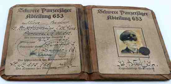 WWII GERMAN THIRD REICH WAFFEN SS AUSWEIS ID BOOK