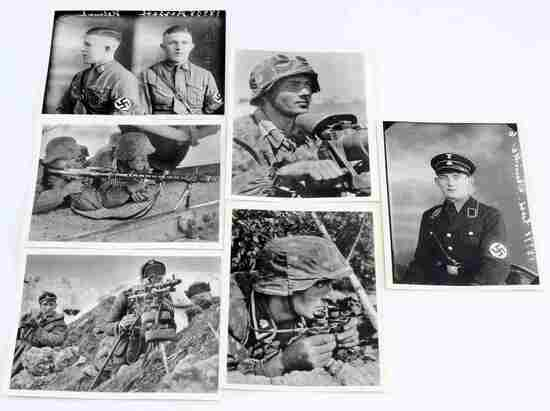 WWII GERMAN WAFFEN SS SOLDIER POSTCARD LOT OF SIX