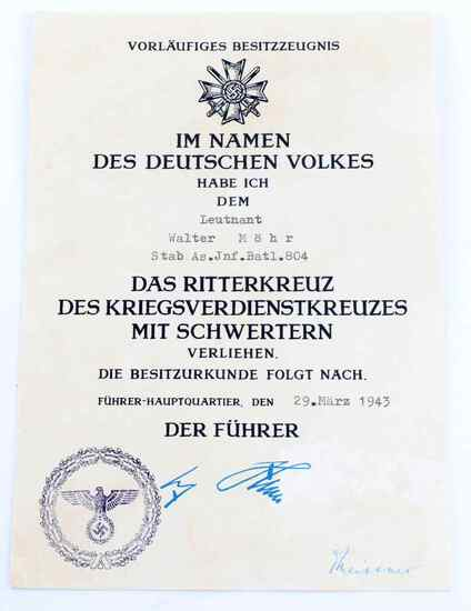 WWII THIRD REICH GERMAN KNIGHTS CROSS DOCUMENT