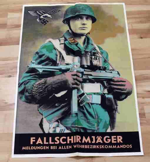WWII GERMAN 3RD REICH LUFTWAFFE PARATROOPER POSTER